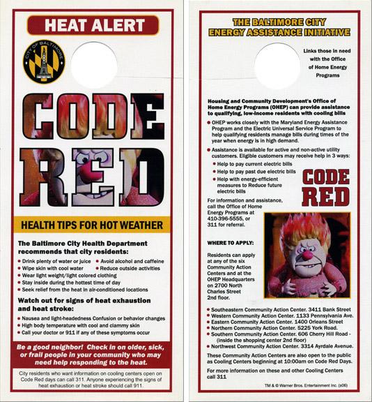 Code Red heat advisory doorhangers