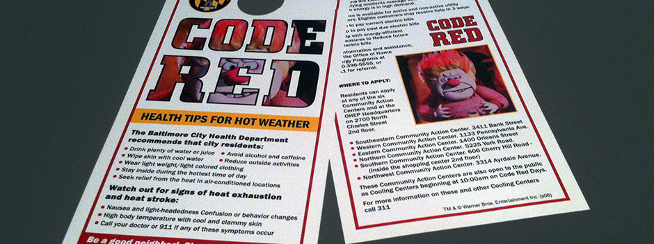 Code Red heat advisory doorhanger